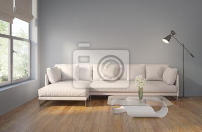 Image: Intérieur contemporain gris moderne avec parquet