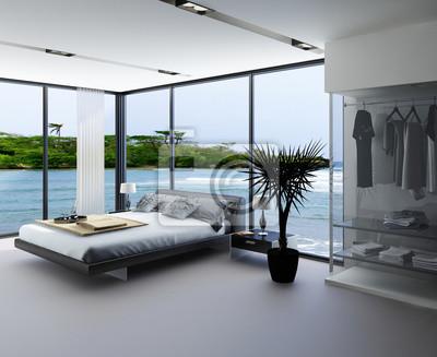 Image: Intérieur de la chambre ultramoderne avec un lit gris avec fenêtre