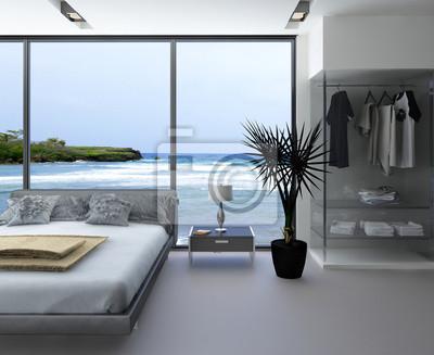 Intérieur de la chambre ultramoderne avec un lit gris avec fenêtre ...