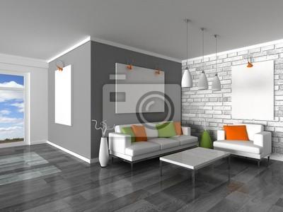 Image: Intérieur de la salle moderne, mur gris et blanc canapés