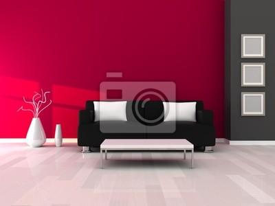 Image Intérieur De La Salle Moderne Mur Gris Et Rose Et Un Canapé