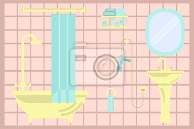 Image: Intérieur de maison. salle de bains moderne dans lillustration