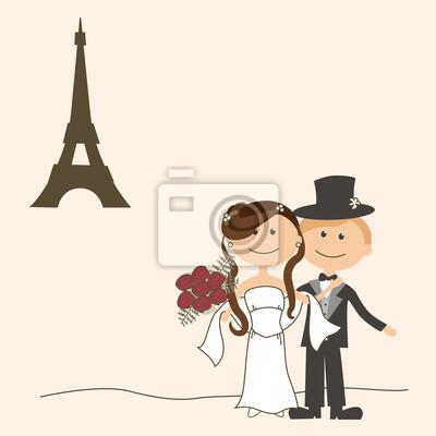 Invitation De Mariage Avec La Mariee Et Le Marie Drole Peintures Murales Tableaux Flirt Devotion Femme Myloview Fr