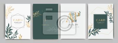 Image Invitation de mariage, floral inviter merci, carte moderne rsvp conception en fleur avec feuilles de verdure branches décoratives vecteur élégant modèle rustique