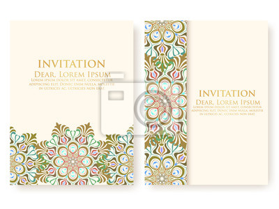 Image Invitation Vectorielle Cartes Avec Des Elements Arabesques Ethniques Conception De Style Arabe