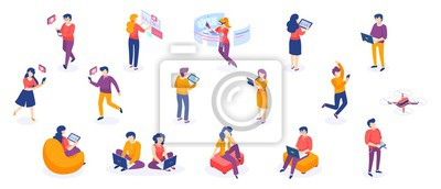 Image Isometric people and gadgets. Young men and women characters with smartphones and gadgets. Vector modern freelance business people on white background
