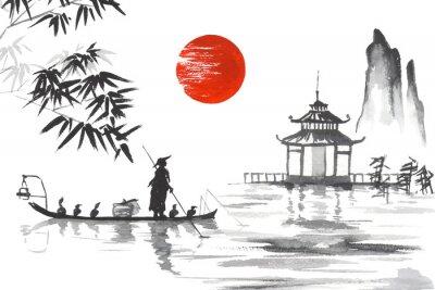 Image Japon Peinture japonaise traditionnelle Art de Sumi-e Japon Peinture japonaise traditionnelle Art de Sumi-e Homme avec bateau