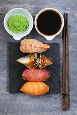 Image Japonaise, traditionnel, nourriture, sushi, saumon, thon, crevette