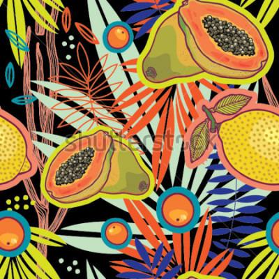 Image Jardin d'été tropical au motif vectoriel de nuit.