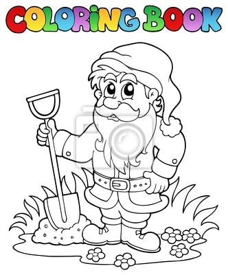 Image: Jardin livre de coloriage de dessin animé nain