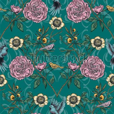 Image Jardin victorien. Floral pattern sans soudure. Illustration vectorielle