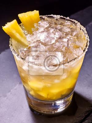 Jaune, cube, glace, froid, boisson, ananas, noir, fond