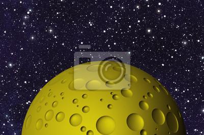 Jaune, grand, lune, cratères, espace, Arrière-plans