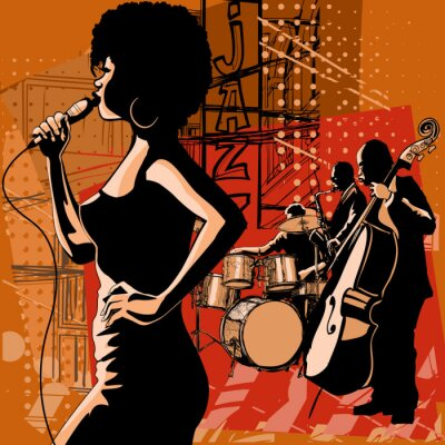 Image Jazz singer with saxophonist and double-bass player