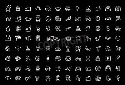 Image jeu d'icônes vecteur noir auto