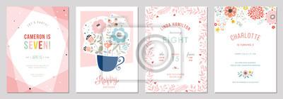 Image Jeu de carte floral anniversaire. Illustration vectorielle