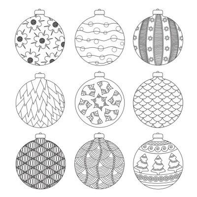 Dessin De Boule De Noel.Image Jeu De Main Dessiner Des Boules De Noël Pour La Coloration Avec