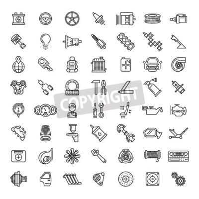 Image Jeu de pièces de voiture icônes définies. Symbole de réparation de service automatique, moteur à engrenages, clé et filtre, illustration vectorielle