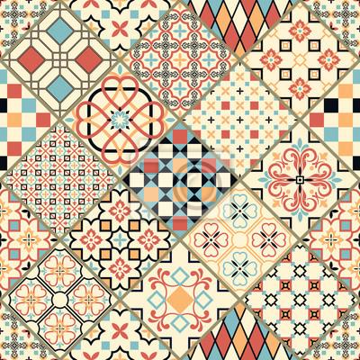 fee983313bca66 Image Jeu de tuiles portugaises vectorielles. Beaux motifs colorés pour le  design et la mode