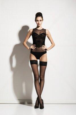 Image Jeune, beau, modèle, poser, bas, lingerie, blanc, fond
