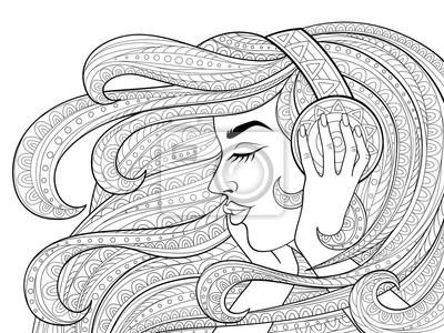 Coloriage Fille Cheveux Longs.Image Jeune Belle Fille Avec Des Cheveux Longs Ondules Ecouter De