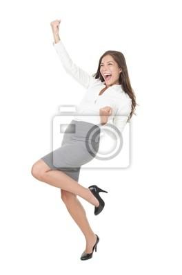 Jeune femme d'affaires prospère de célébrer la réussite