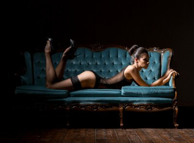 Image Jeune, femme, lingerie, vendange, sofa