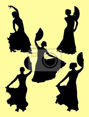 Jeune Femme Passionnée Dansant La Silhouette De Flamenco Bon