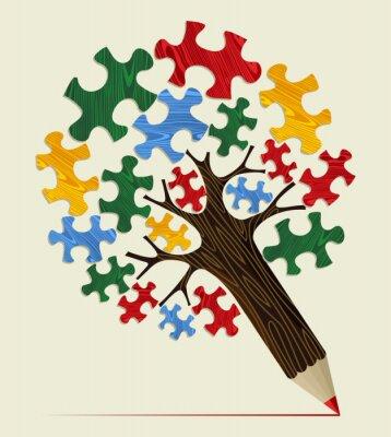 Image Jigsaw notion crayon arbre stratégique