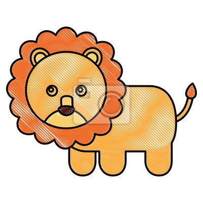 Joli Bébé Lion Animal Image Vector Illustration Dessin Peintures