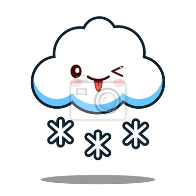 Joli Flocon De Neige Kawaii Face Icone Dessin Anime Flat Design Peintures Murales Tableaux Emoticones Pleurer Mascotte Myloview Fr