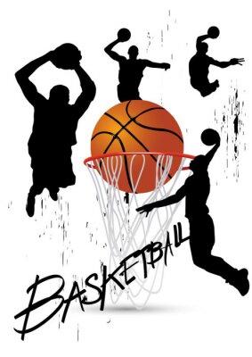Image joueur de basket dans la posture de sauter sur blanc