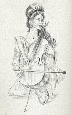 Image Joueur de violoncelle. Croquis à main levée. Pleine taille, orignal.