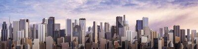 Image Jour city panorama / rendu 3D de la ville moderne de jour sous le ciel lumineux