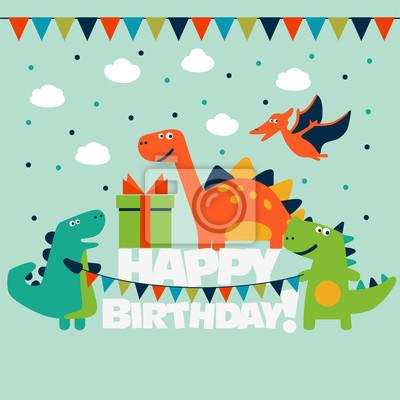 Joyeux Anniversaire Jolie Carte Vectorielle Avec Des Dinosaures Peintures Murales Tableaux Diplodocus Pterodactyle Carte D Anniversaire Myloview Fr