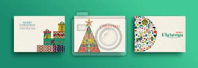 Image Joyeux Noël, collection de cartes d'art populaire rétro