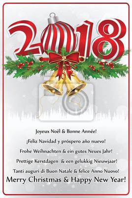 Carte Bonne Fete En Italien.Joyeux Noel Et Bonne Annee Carte De Voeux Avec Texte En Plusieurs