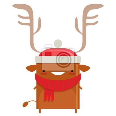 Joyeux Noel Simple Personnage De Dessin Anime De Renne Santa