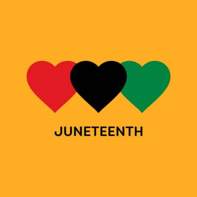 Image Juneteenth Square Banner With Hearts in Pan-African Flag Colours. Vector Illustration Symbolising Juneteenth Freedom Day.