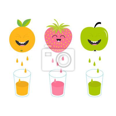 Image Jus De Fruits Frais Et Verres Pomme Fraise Fruit Orange Avec