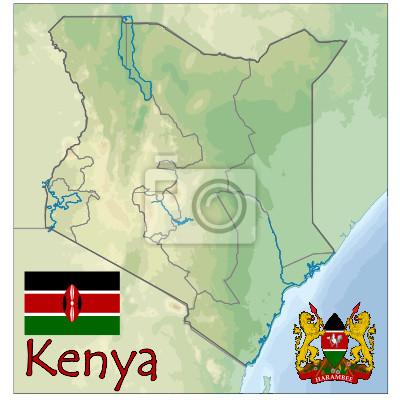 Image Kenya Afrique Carte Drapeau Emblème