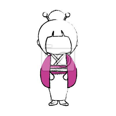 Kimono Japonais Fille Dessin Anime Icone Illustration Vectorielle