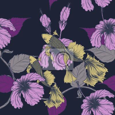 Image Koi Poisson Et Motif De Fleurs Hibiscus à Dessin à La Main Lart
