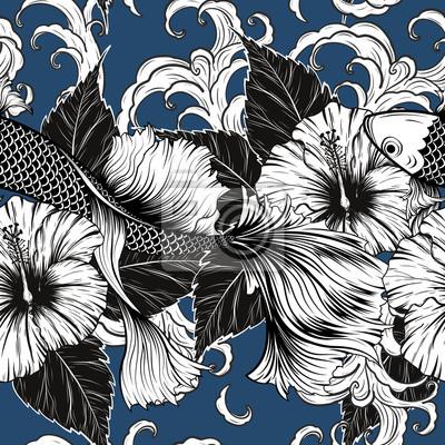 Koi Poisson Et Motif De Fleurs Hibiscus A Dessin A La Main Lart Peintures Murales Tableaux Batik Hibiscus Chiffon Myloview Fr