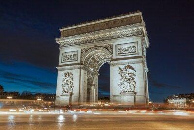 Image L'Arc de Triomphe en soirée.