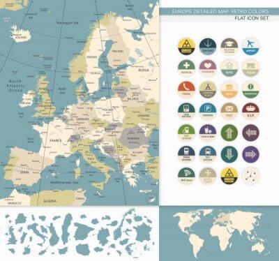 Image L'Europe map.Retro détaillée Couleurs