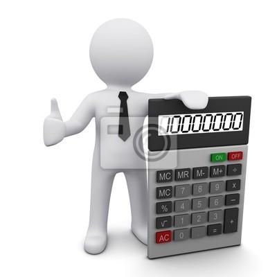 L'homme en 3D avec une calculatrice