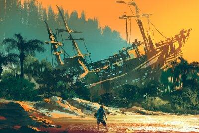 Image L'homme naufragé debout sur la plage de l'île avec un bateau abandonné au coucher du soleil, illustration peinture