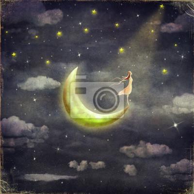 L'illustration montre la fille qui admire le ciel étoilé