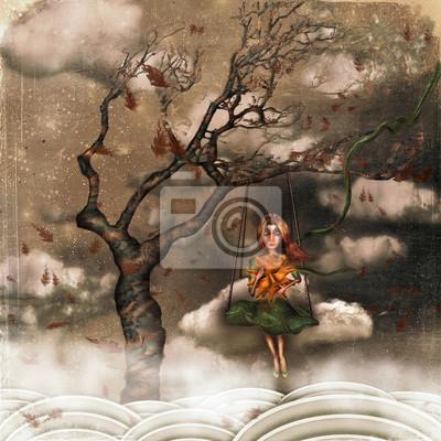 L'illustration montre la fille triste dans le ciel sur les balançoires. Un soleil dans ses mains